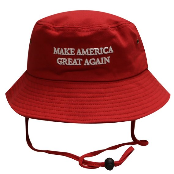 The MAGA bucket hat comes in classic red (Photo via Amazon)