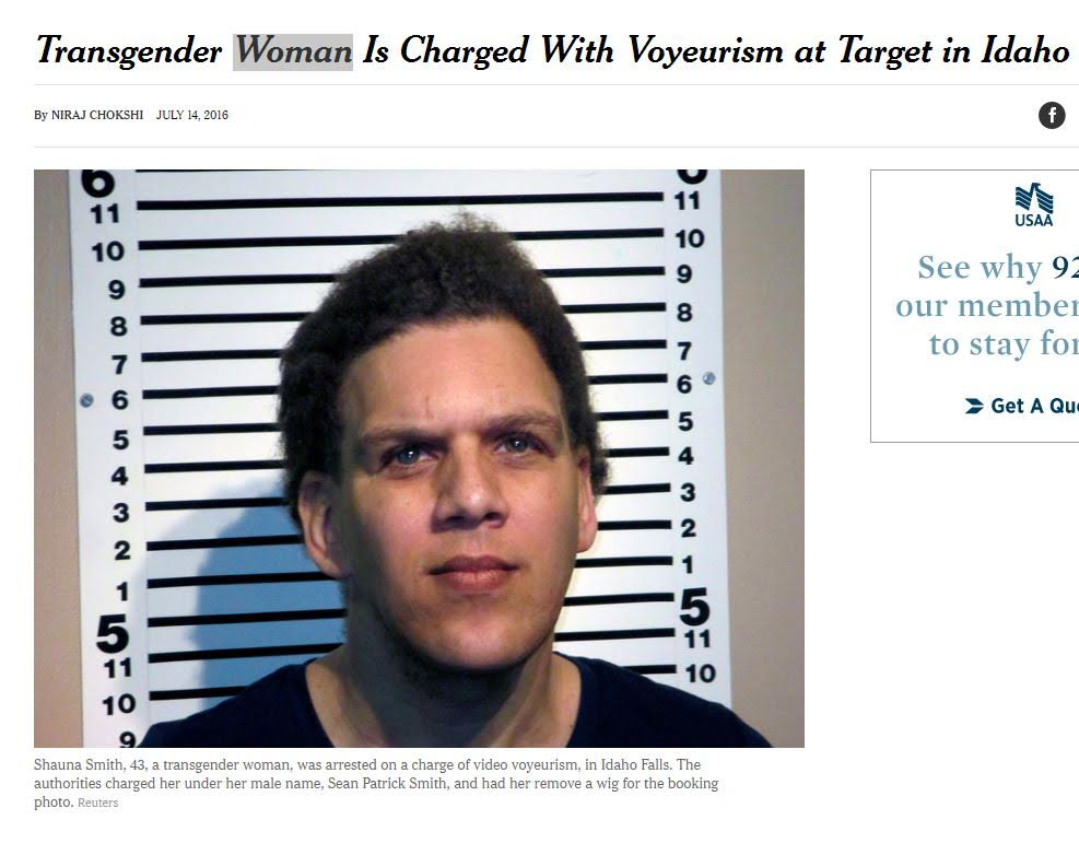 The New York Times, calling Sean Patrick Smith a woman right above his very masculine photo. [New York Times screengrab/Reuters]