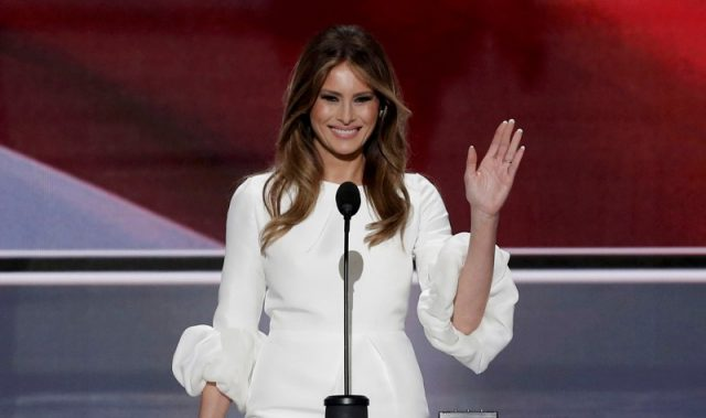Melania Trump, wife of Republican U.S. presidential candidate Donald Trump, waves as she arrives to speak at the Republican National Convention in Cleveland, Ohio, U.S. July 18, 2016. REUTERS/Mike Segar