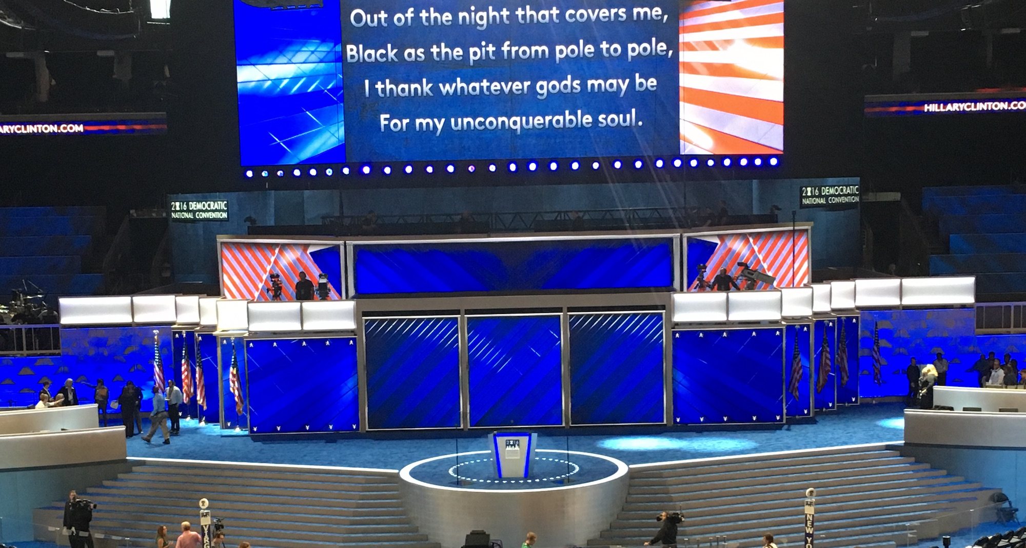 American flags are added to the DNC stage (Vince Coglianese/The Daily Caller)