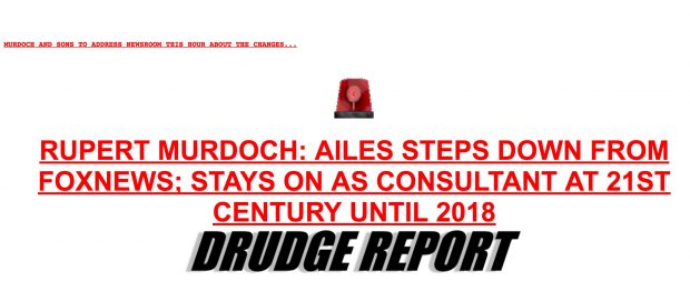 Drudge Report Breaking News About Roger Ailes