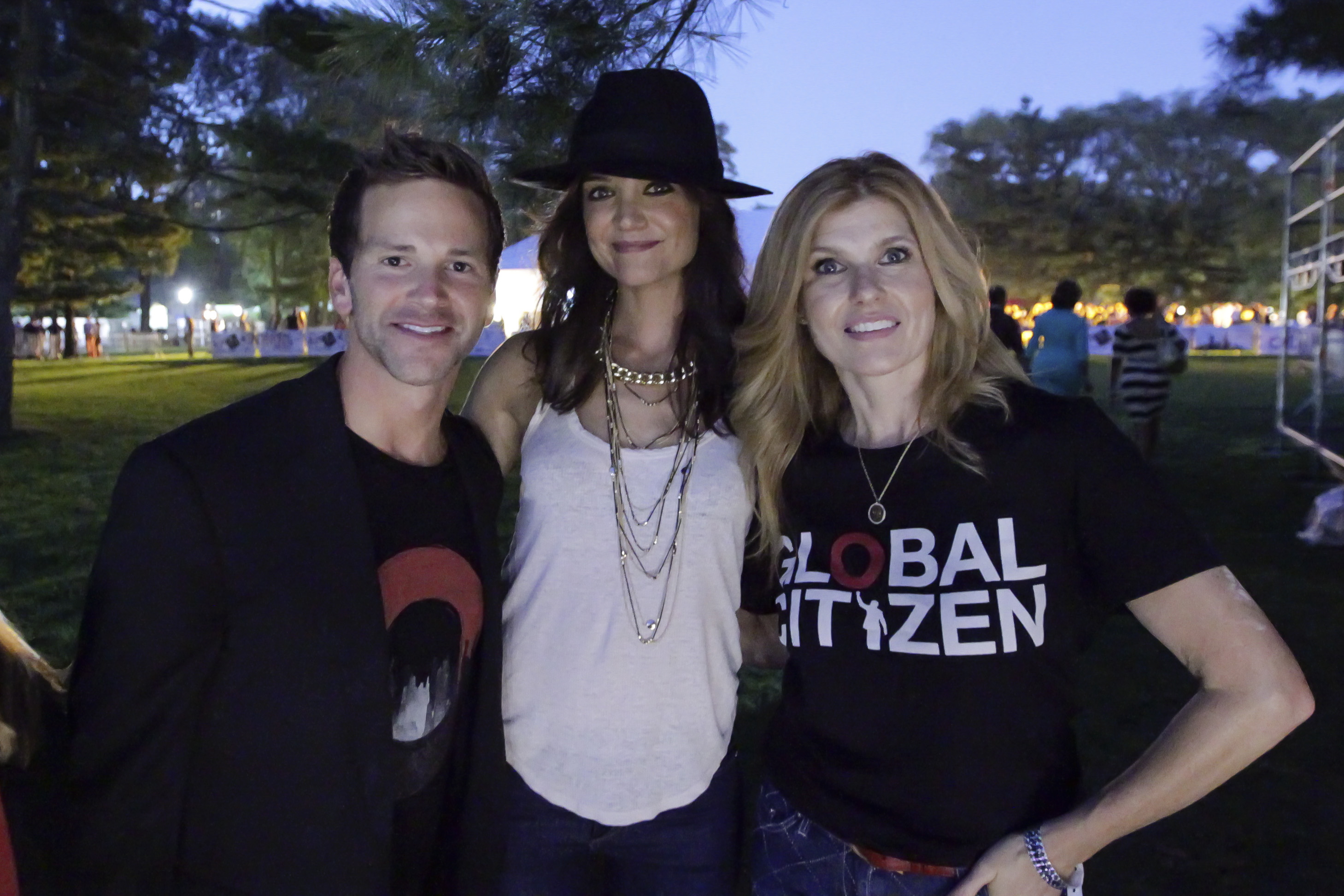 Former Illinois Rep. Aaron Schock with actress Katie Holmes at the Global Citizen Festival