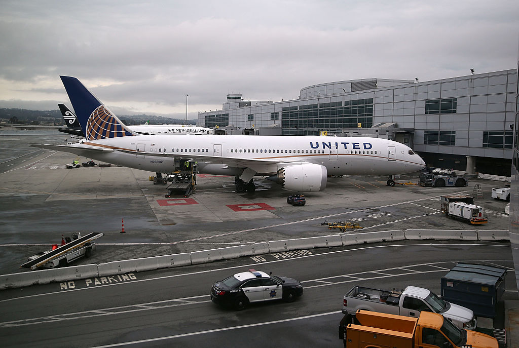 A United Airlines plane sits on the tarmac at San Francisco International Airport (Getty Images)