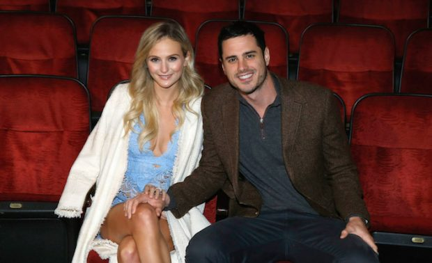 "NEW YORK, NY - MARCH 17: ""Bachelor"" Fiancee Lauren Bushnell and Ben Higgins visit ""The Lion King"" on Broadway at Minskoff Theatre on March 17, 2016 in New York City. (Photo by John Lamparski/Getty Images)"