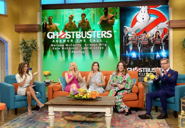 """MIAMI, FL - JULY 11: Karla Martinez,Kate McKinnon,Kristen Wiig,Melissa McCarthy and Paul Feig is on the set of Univisions """"Despierta America"""" to support the film """"Ghostbusters"""" at Univision Studios on July 11, 2016 in Miami, Florida. (Photo by Gustavo Caballero/Getty Images)"""