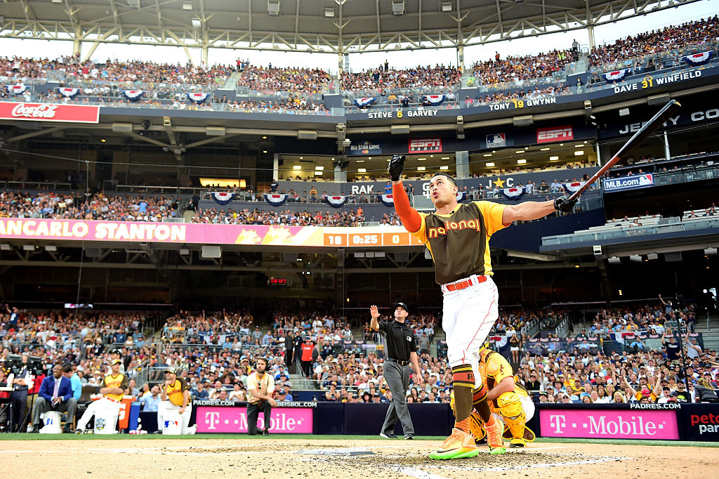 Giancarlo Stanton of the Miami Marlins competes during the T-Mobile Home Run Derby at PETCO Park on July 11, 2016 (Getty Images)