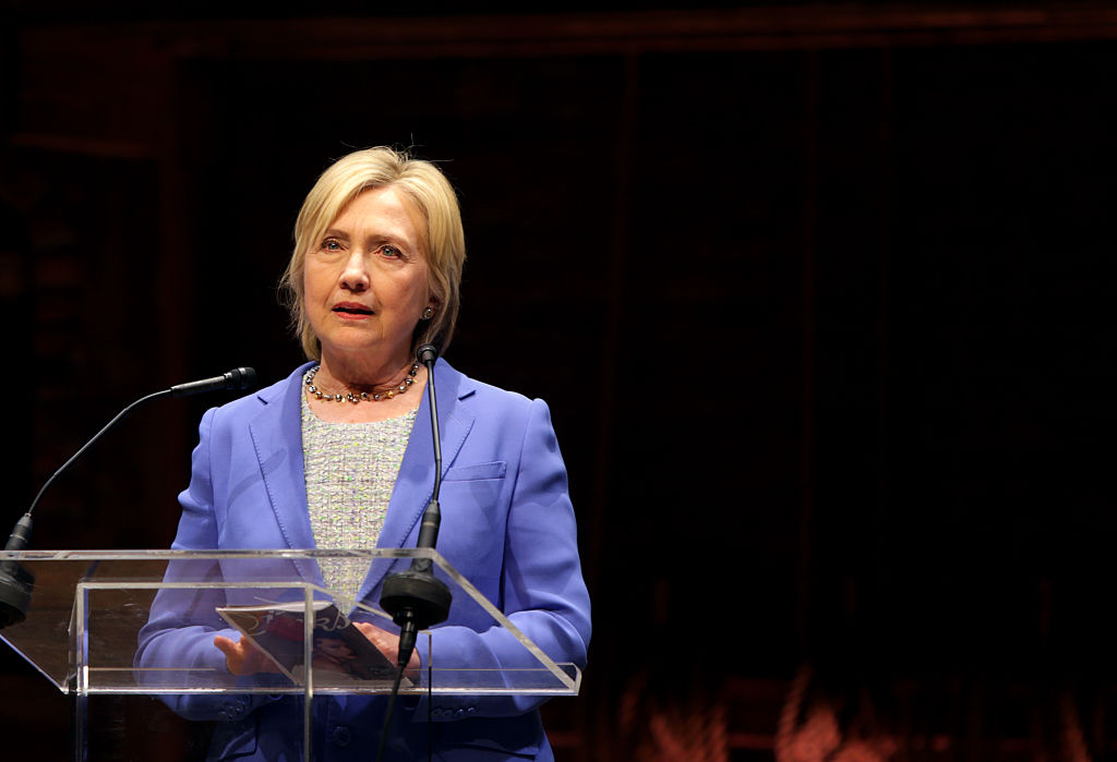 """Hillary Clinton speaks at the Richard Rodgers Theatre following a special performance of the Broadway musical """"Hamilton"""" on July 12, 2016 (Getty Images)"""