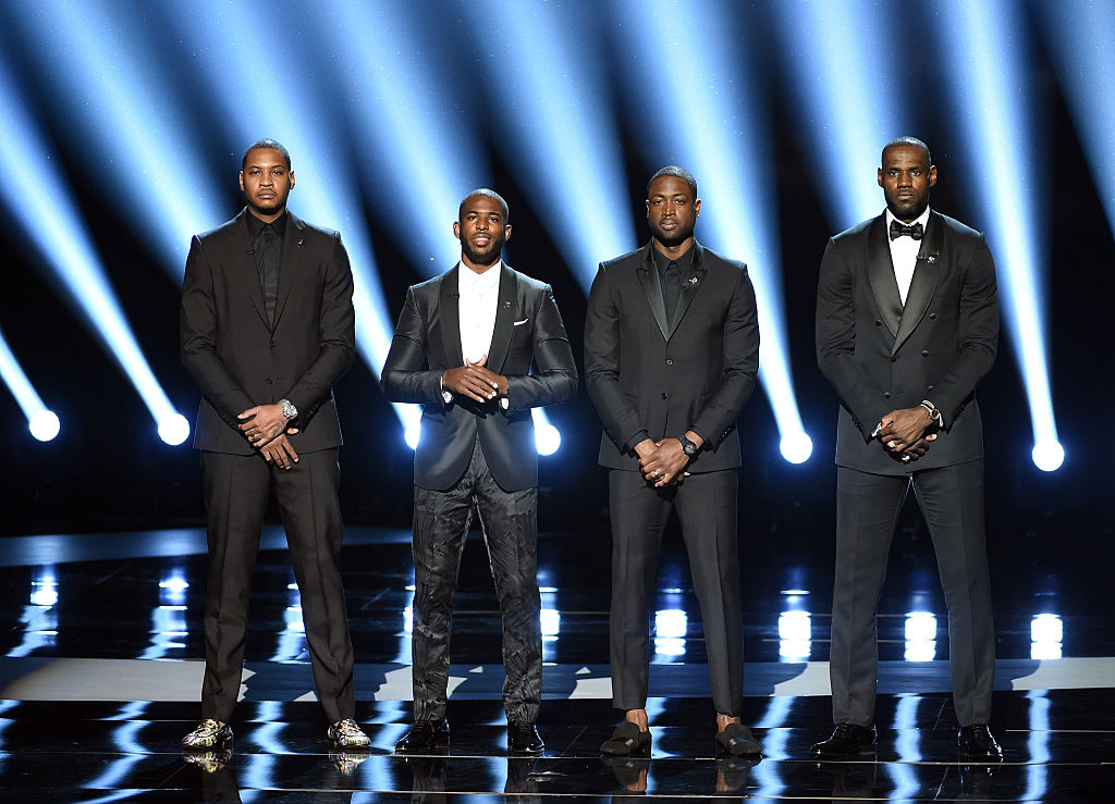 NBA stars Carmelo Anthony, Chris Paul, Dwyane Wade and Lebron James call for an end to gun violence. (Photo by Kevin Winter/Getty Images)