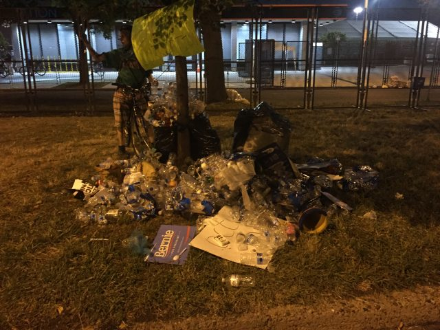 One of many plastic water bottle piles amassed by DNC protesters Tuesday night. [Blake Neff/Daily Caller News Foundation]