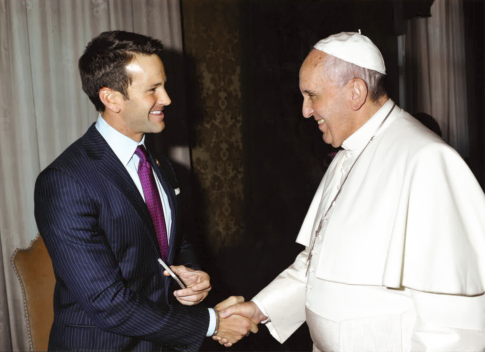 Former Illinois Rep. Aaron Schock with Pope Francis, Jan. 4, 2015.