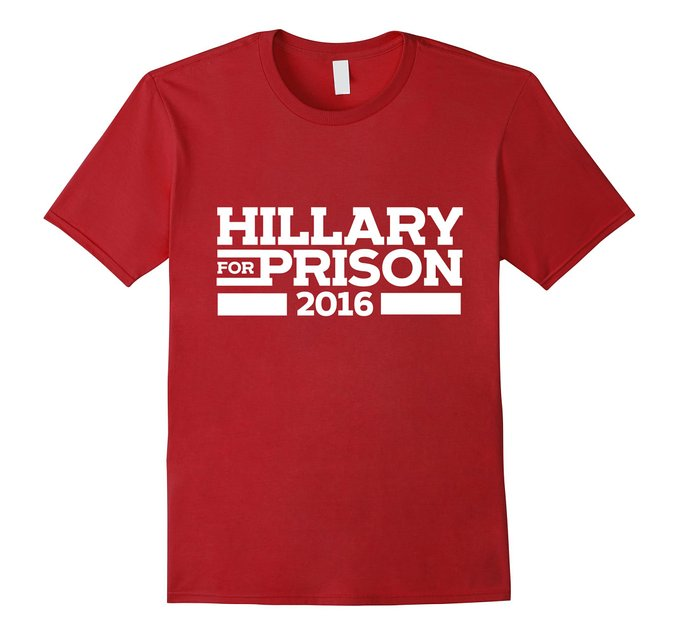 This Hillary for Prison shirt comes in red, cranberry, black, navy and royal blue (Photo via Amazon)