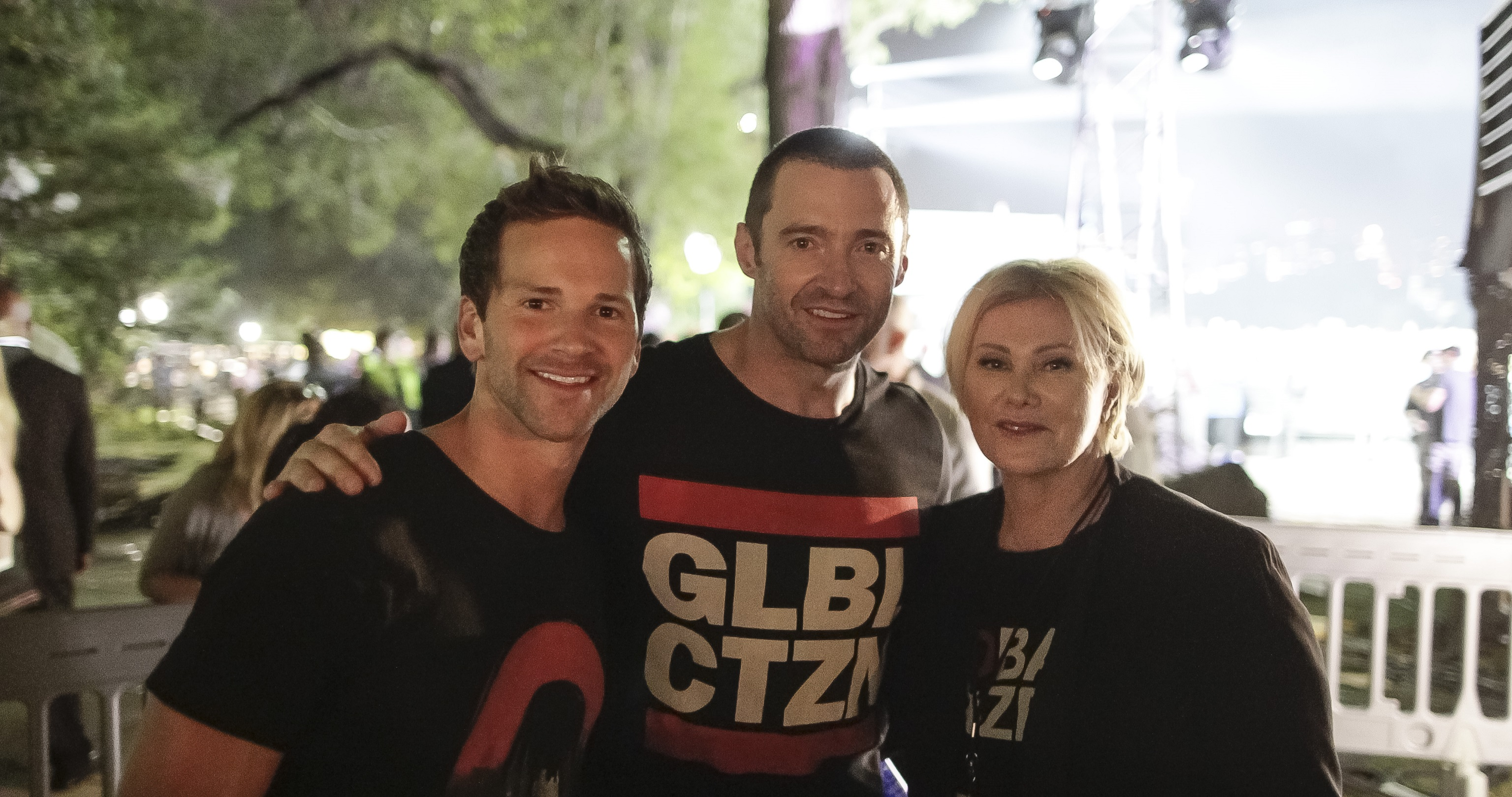 Former Illinois Rep. Aaron Schock with actor Hugh Jackman at the Global Citizen Festival