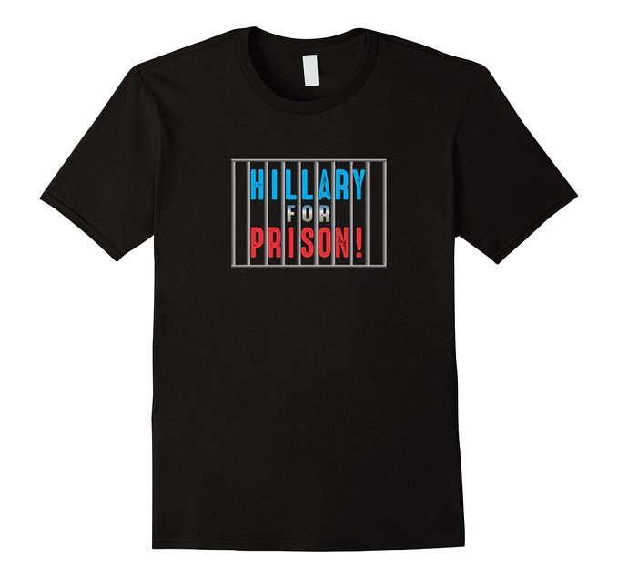 This Hillary for Prison shirt also comes in black, navy and asphalt (Photo via Amazon)