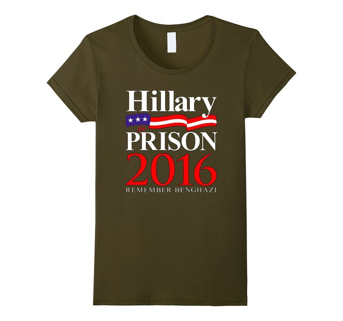 This 'Remember Benghazi' Hillary for Prison shirt comes in olive, black, brown, navy and asphalt (Photo via Amazon)