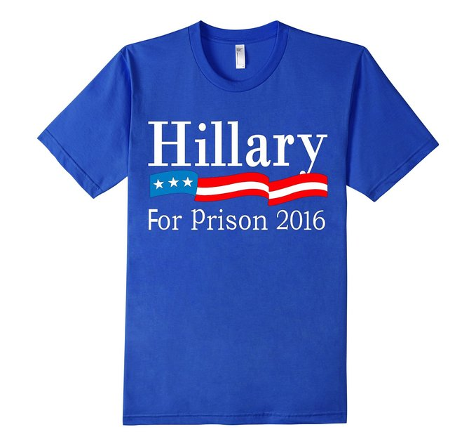 This Hillary for Prison shirt also comes in black, royal blue and slate (Photo via Amazon)