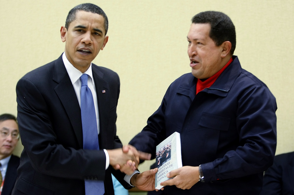 Brothers in arms, Barack Obama and Hugo Chavez. Reuters/Kevin Lamarque