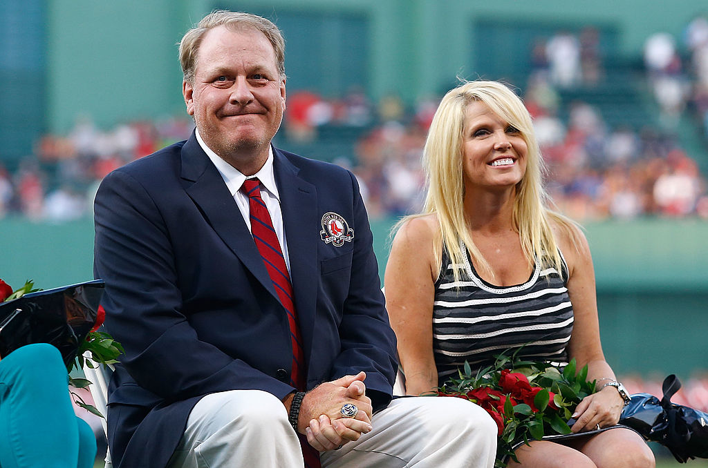 Curt Schilling sits with his wife, Shonda Schilling, while being inducted into the Red Sox Hall of Fame (Getty Images)