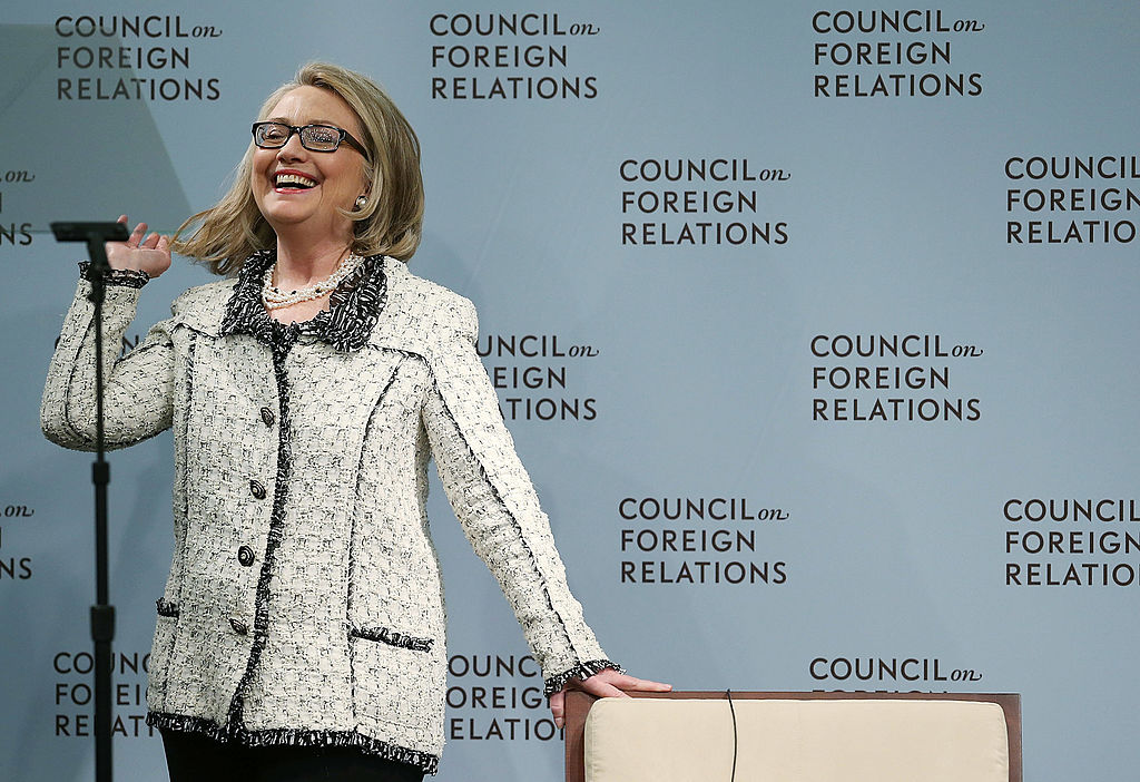 Hillary Clinton listens to her introduction before delivering her final speech as Secretary of State at the Council on Foreign Relations on January 31, 2013 (Getty Images)
