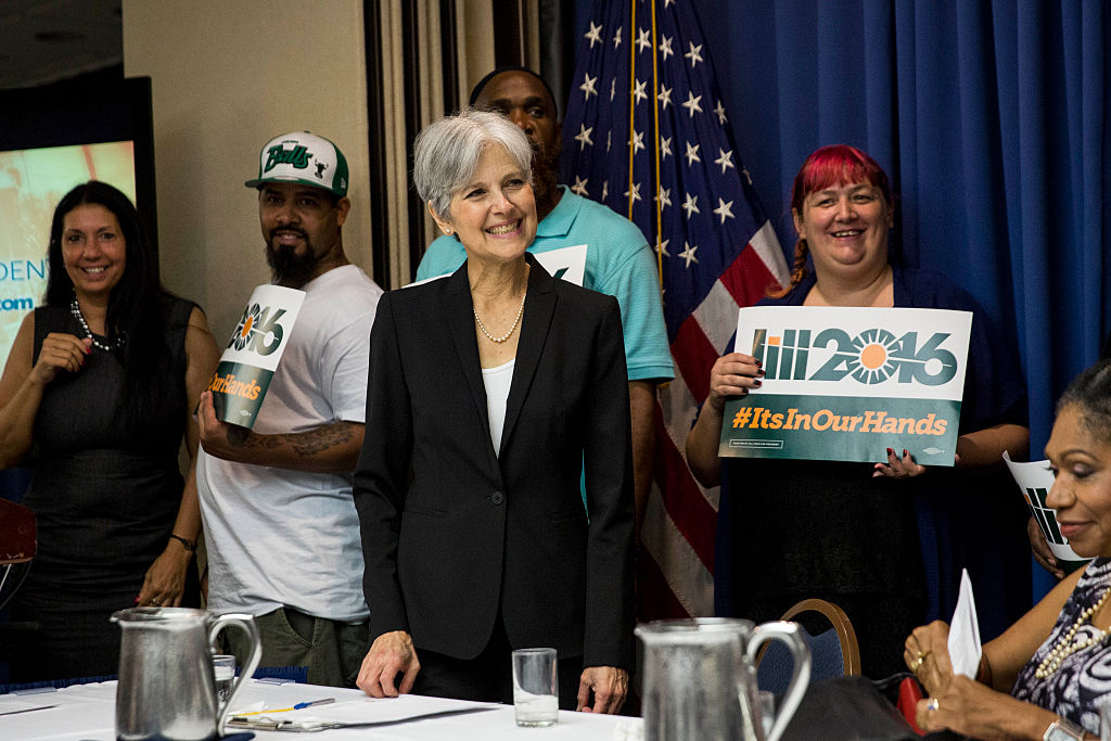Jill Stein smiles after announcing that she will seek the Green Party's presidential nomination (Getty Images)