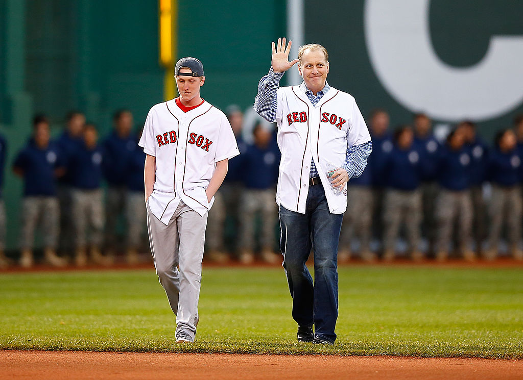 Curt Schilling is honored with son Garrett prior to the game between the Boston Red Sox and Atlanta Braves at Fenway Park on May 28, 2014 (Getty Images)