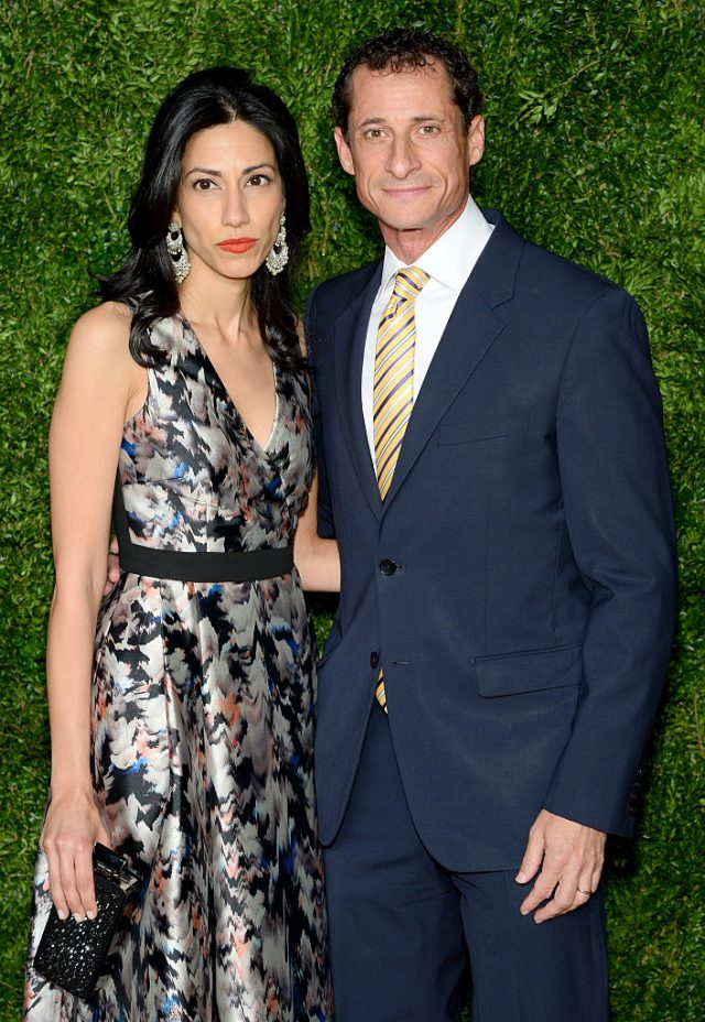 Weiner and his wife, Huma Abedin. (Photo: Andrew Toth/Getty Images)