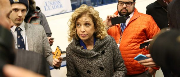 MANCHESTER, NH - DECEMBER 19: U.S. Representative Debbie Wasserman Schultz (D-FL 23rd District), who is also the Chair of the Democratic National Committee (DNC) speaks to reporters before the democratic debate on December 19, 2015 in Manchester, New Hampshire. The DNC has been criticized for the timing of democratic debates during the 2016 presidential race. (Photo by Andrew Burton/Getty Images)