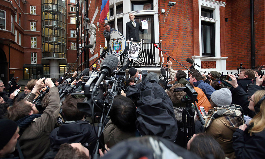 Wikileaks founder Julian Assange speaks from the balcony of the Ecuadorian Embassy (Getty Images)