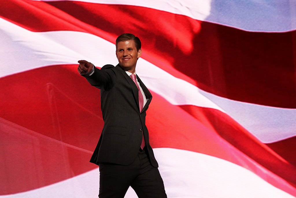 Eric Trump points to the crowd at the 2016 Republican National Convention in Cleveland (Getty Images)