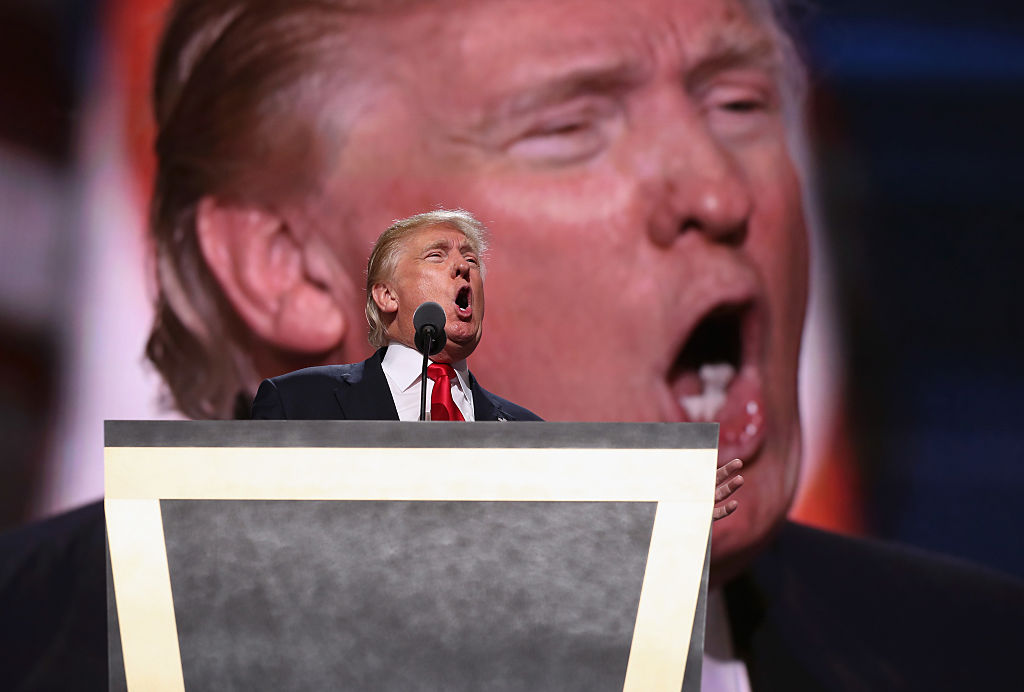 Donald Trump speaks while formally accepting his party's nomination on the fourth day of the Republican National Convention (Getty Images)