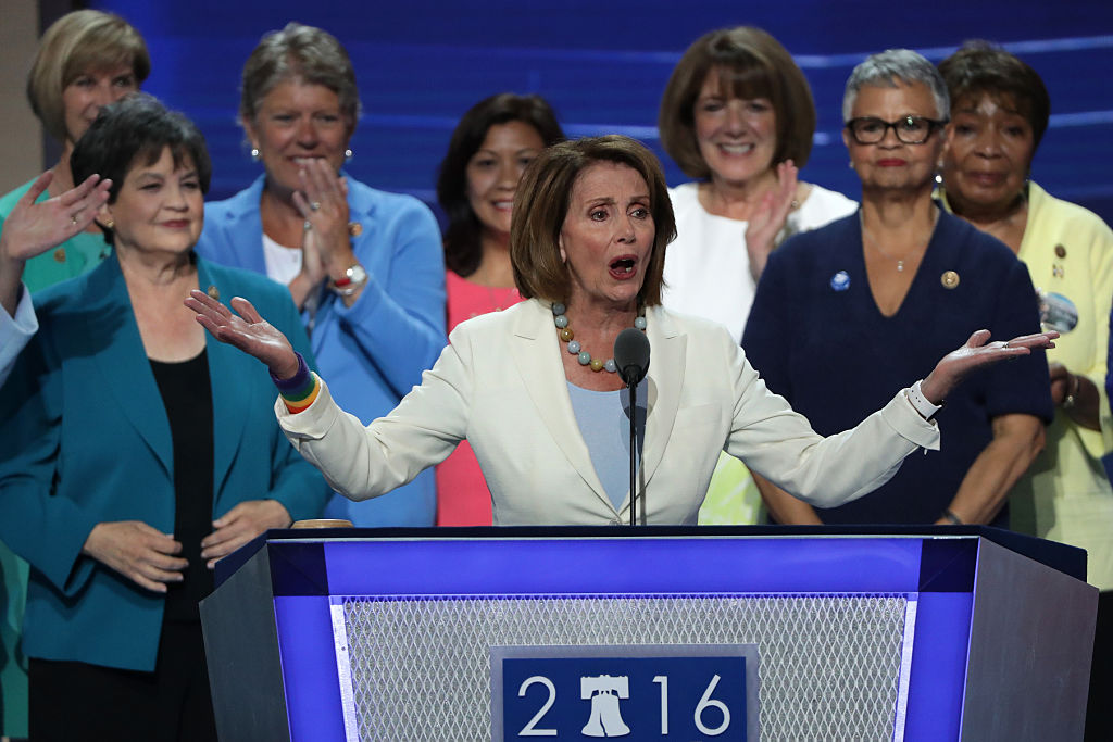 Nancy Pelosi gives a speech on the second day of the Democratic National Convention (Getty Images)