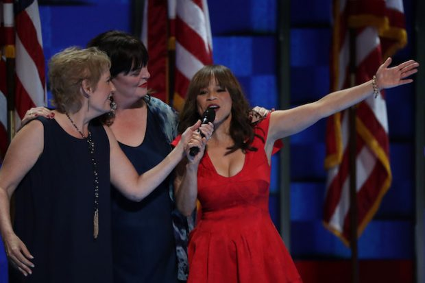 "PHILADELPHIA, PA - JULY 27: Rosie Perez sings ""What the World Needs Now"" on the third day of the Democratic National Convention at the Wells Fargo Center, July 27, 2016 in Philadelphia, Pennsylvania. Democratic presidential candidate Hillary Clinton received the number of votes needed to secure the party's nomination. An estimated 50,000 people are expected in Philadelphia, including hundreds of protesters and members of the media. The four-day Democratic National Convention kicked off July 25. (Photo by Alex Wong/Getty Images)"