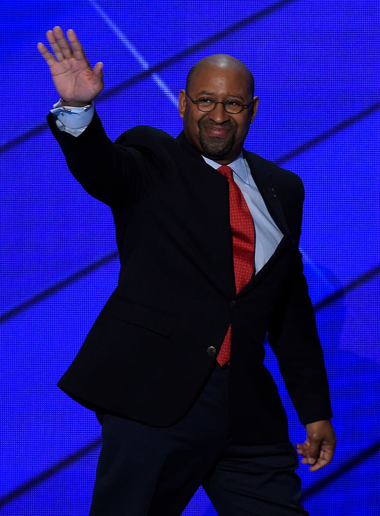 Michael Nutter arrives on stage to address delegates on the fourth and final day of the Democratic National Convention (Getty Images)