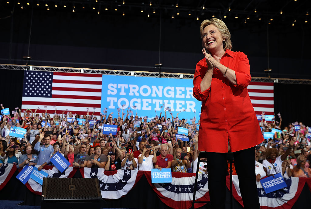 Hillary Clinton greets supporters during a campaign rally with democratic vice presidential nominee Tim Kaine at the David L. Lawrence Convention Center on July 30, 2016 (Getty Images)