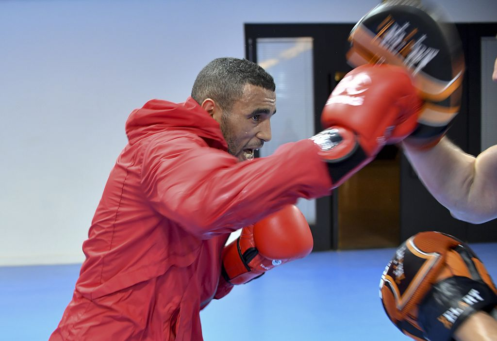 Saada trains with his coach during a session at the Riocentro complex in Rio de Janeiro (Getty Images)