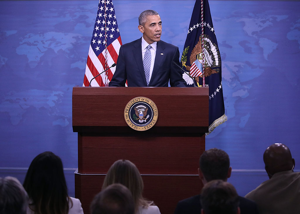 President Barack Obama speaks to reporters at the Pentagon (Getty Images)