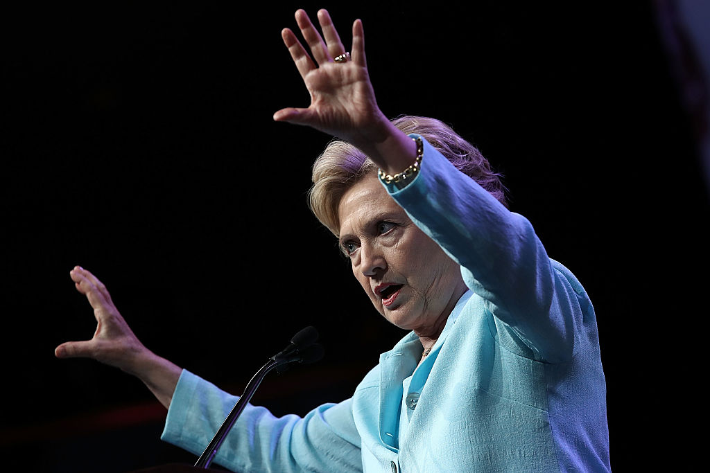 Hillary Clinton addresses the National Association of Black Journalists and the National Association of Hispanic Journalists on August 5, 2016 in Washington, DC. (Getty Images)
