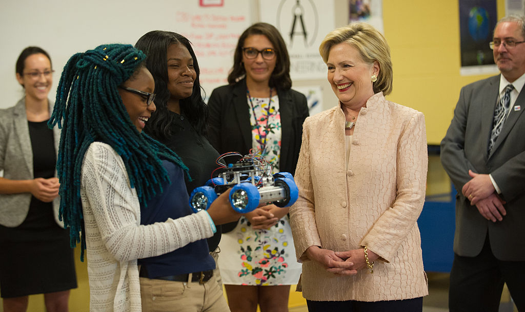 Hillary Clinton tours John Marshall High School in Cleveland, Ohio. (Getty Images)
