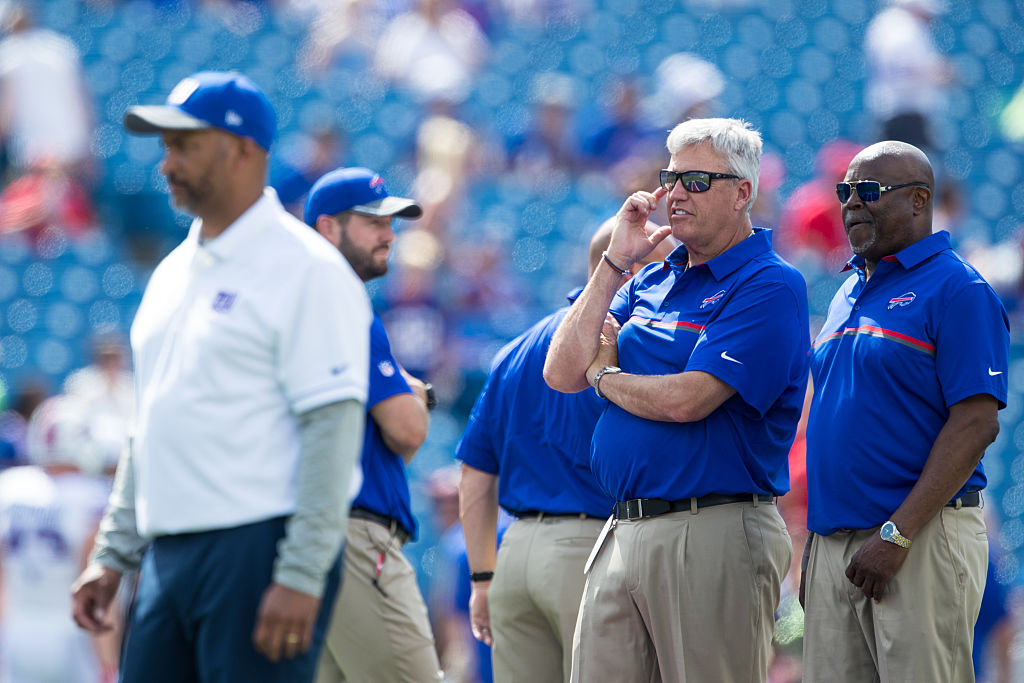 ORCHARD PARK, NY - AUGUST 20: Head coach Rex Ryan of the Buffalo Bills (C) watches the New York Giants warm up before the game on August 20, 2016 at New Era Field in Orchard Park, New York. (Photo by Brett Carlsen/Getty Images)