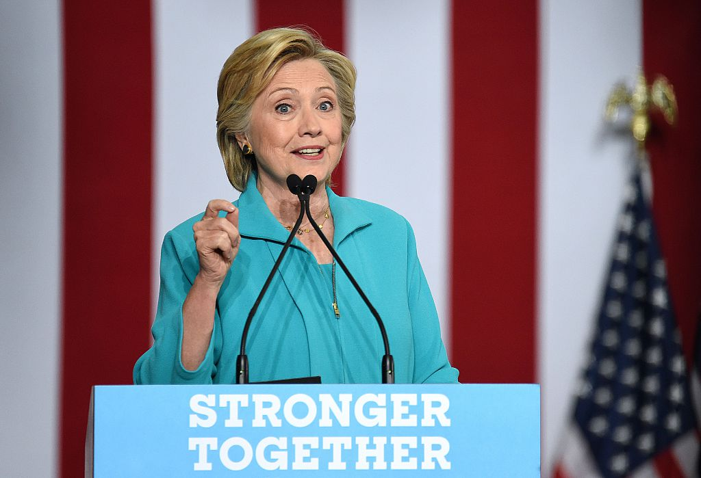 Hillary Clinton speaks at a campaign event in Reno, Nevada on August 25, 2016 (Getty Images)