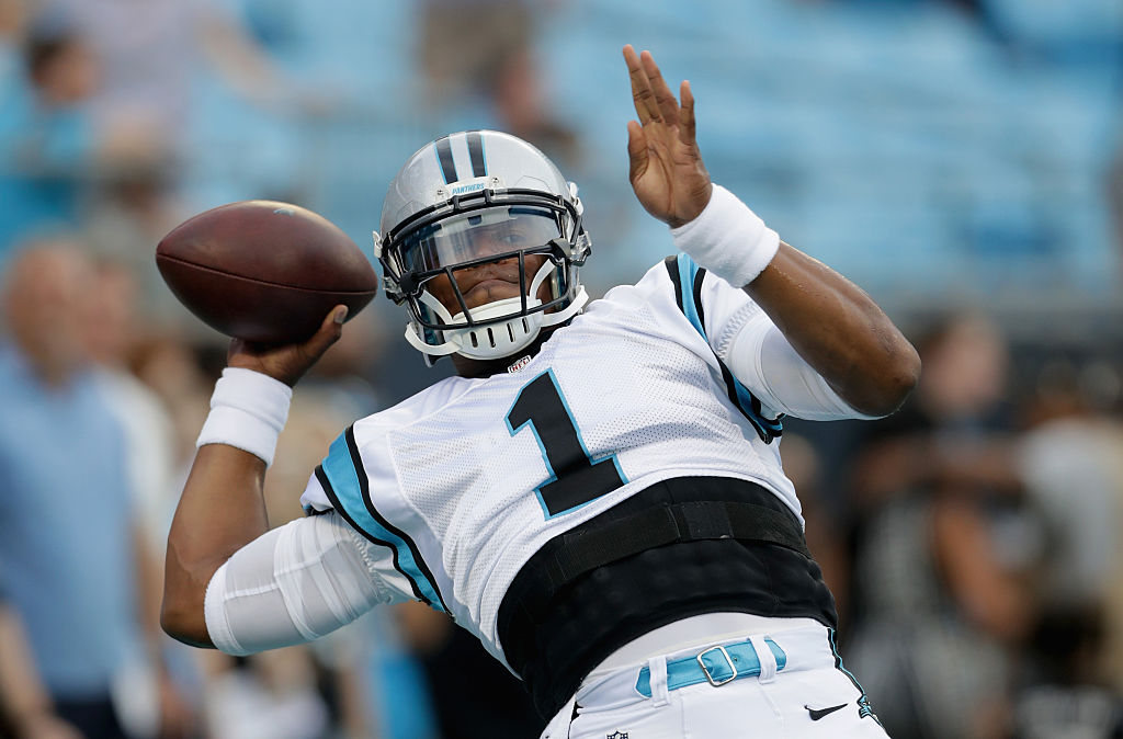 CHARLOTTE, NC - AUGUST 26: Cam Newton #1 of the Carolina Panthers warms up prior to their game against the New England Patriots during their game at Bank of America Stadium on August 26, 2016 in Charlotte, North Carolina. (Photo by Streeter Lecka/Getty Images)