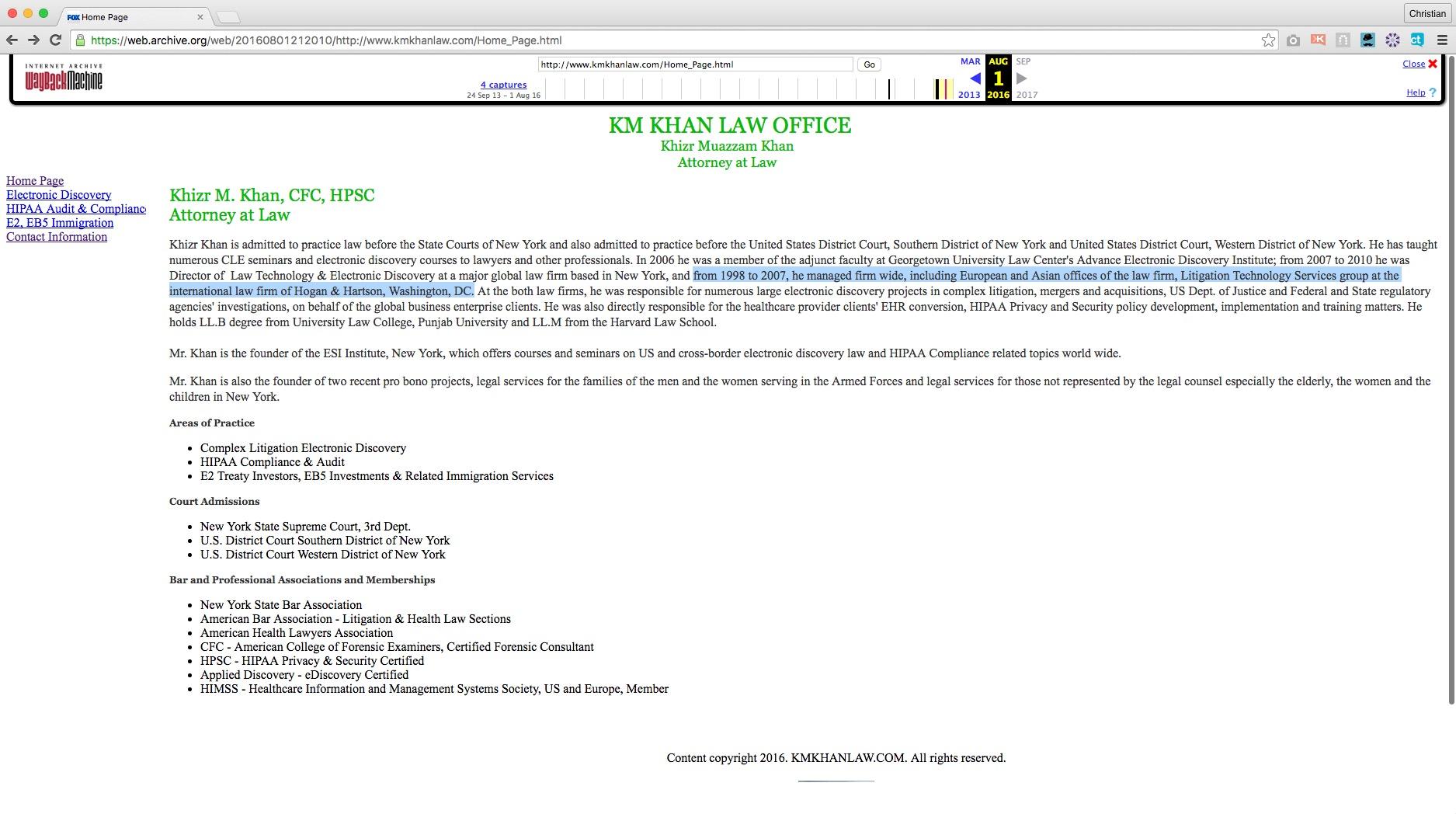 (screenshot: KM Kahn Law Office website via The Way Back Machine)