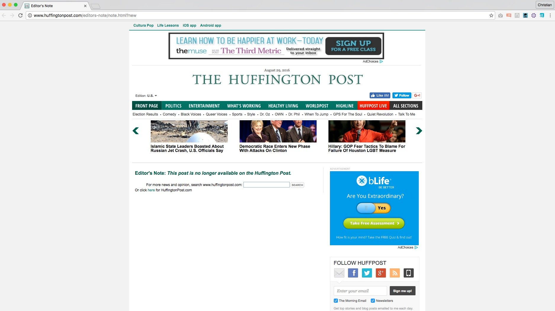 The page greeting visitors to Seaman's now-deleted articles (Huffington Post)