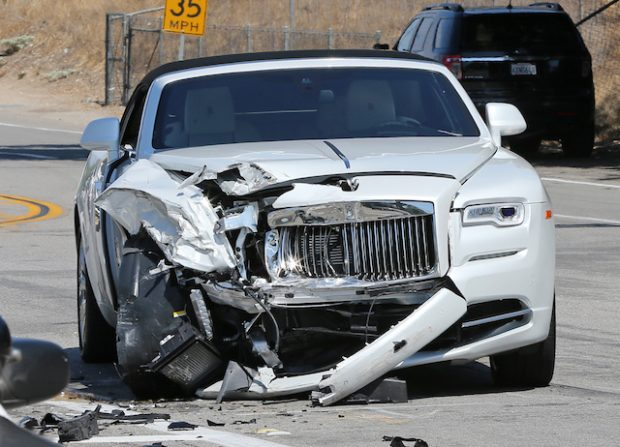 Scene from Kris Jenner car crash in Calabasas in her white Rolls-Royce into a green Prius <P> Pictured: Kris Jenner <B>Ref: SPL1329405 030816 </B><BR /> Picture by: Clint Brewer / Splash News<BR /> </P><P> <B>Splash News and Pictures</B><BR /> Los Angeles:310-821-2666<BR /> New York: 212-619-2666<BR /> London: 870-934-2666<BR /> photodesk@splashnews.com<BR /> </P>