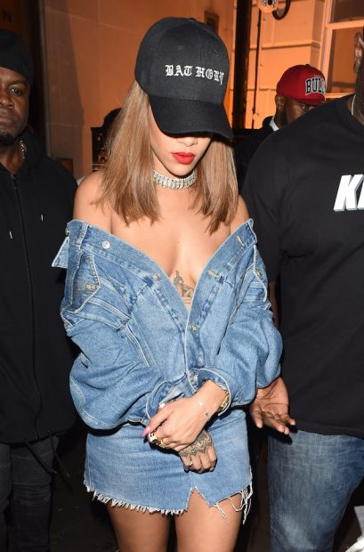 Rihanna seen arriving at Tape nightclub in London Braless. Rihanna was seen pictured arriving at the club to party with Justin Bieber after dinner in the capital with friends at Hakasan. Rihanna was seen in double denim. <P> Pictured: Rihanna <B>Ref: SPL1337890 200816 </B><BR /> Picture by: Splash News<BR /> </P><P> <B>Splash News and Pictures</B><BR /> Los Angeles:310-821-2666<BR /> New York: 212-619-2666<BR /> London: 870-934-2666<BR /> photodesk@splashnews.com<BR /> </P>