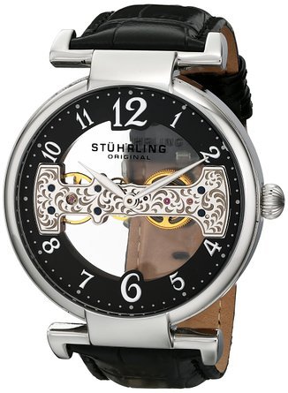 You can save $85 on this Stuhrling skeleton watch today (Photo via Amazon)