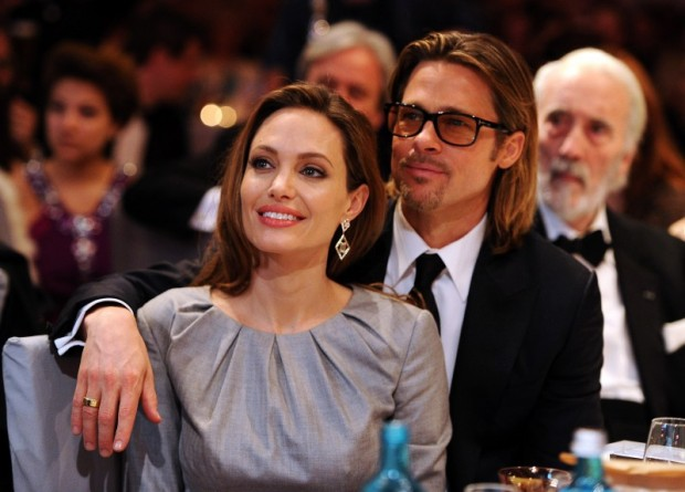 "Angelina Jolie and Brad Pitt attend the ""Cinema for Peace 2012"" charity gala during the 62nd Berlinale film festival in Berlin"