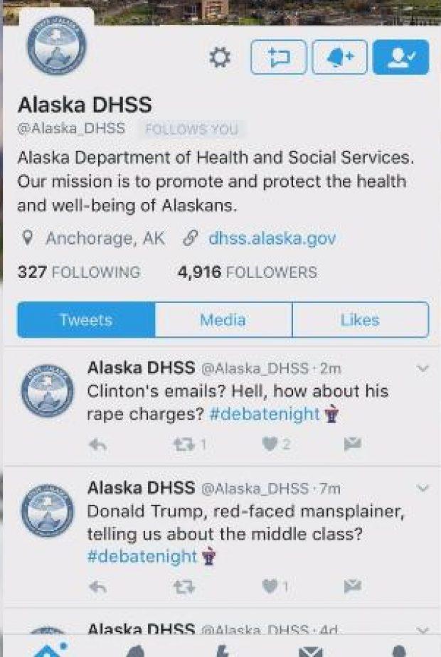 Alaska DHHS Tweets Twitter Screen Shot