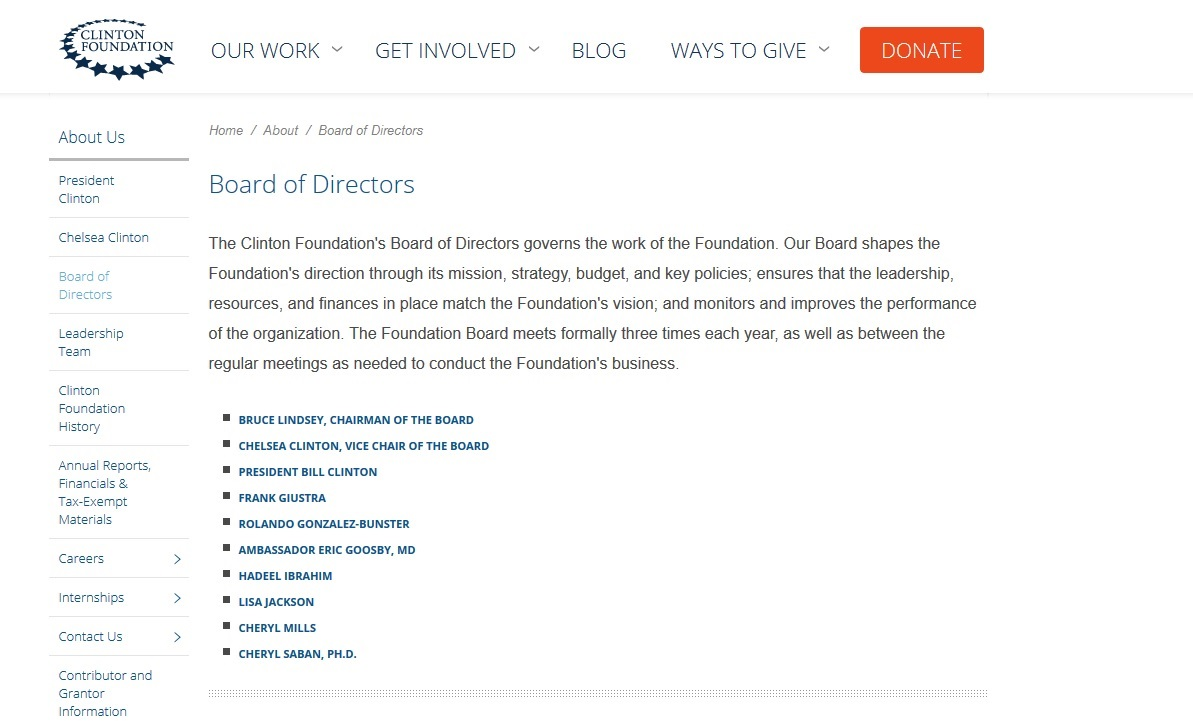 Clinton Foundation website screenshot