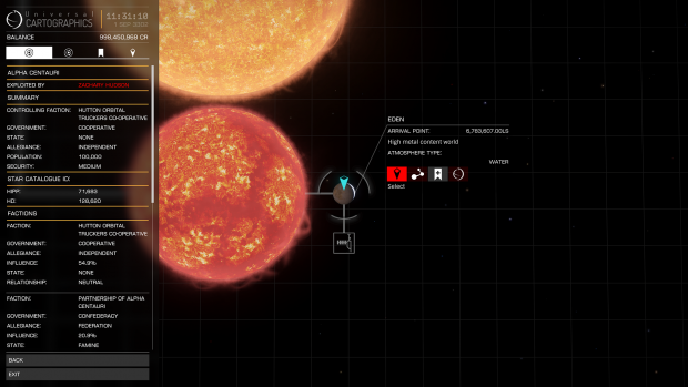 Simulation of Planet Eden And Surrounding Star System In Elite Dangerous Imaged Generated By Frontier Developments Plc. 1984 - 2016 and Used With Permission