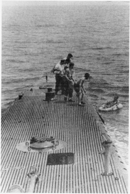 Bush Being rescued by the submarine USS Finback Credit: U.S. National Archives and Records Administration